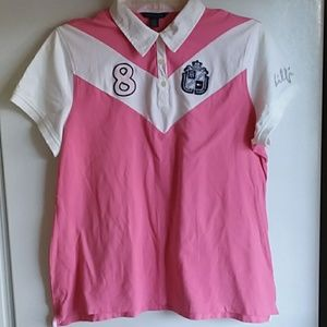 Tommy Hilfiger 2X Pink & White Polo Shirt